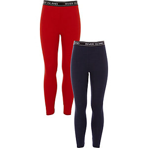 Lot de leggings bleu marine et rouge pour fille