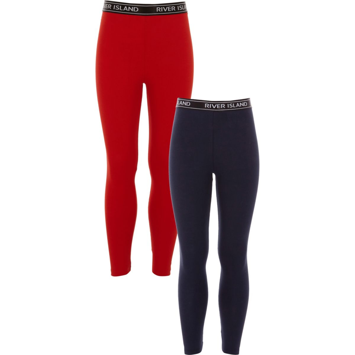 Girls navy and red leggings pack