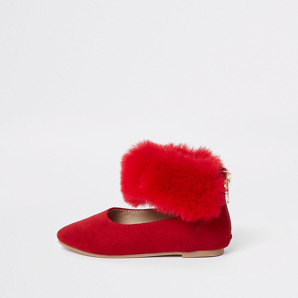 Mini girls red faux fur ballet flats