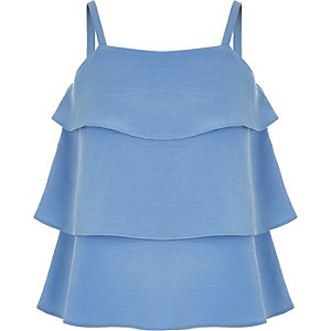 Caraco bleu à volants pour fille
