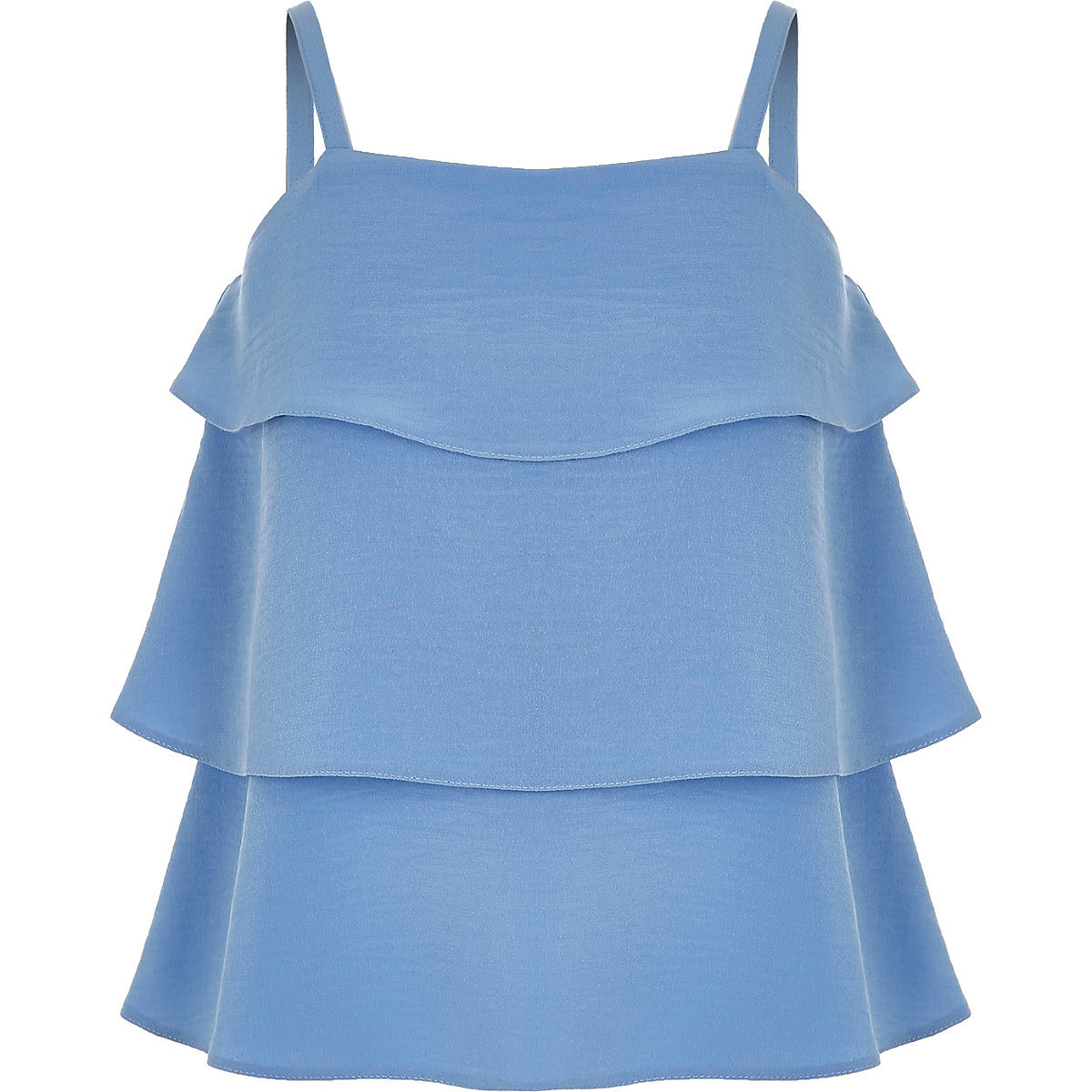 Girls blue tiered frill cami top