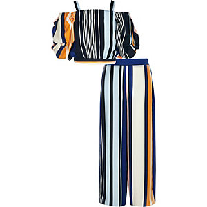 Girls blue stripe crop and trouser set