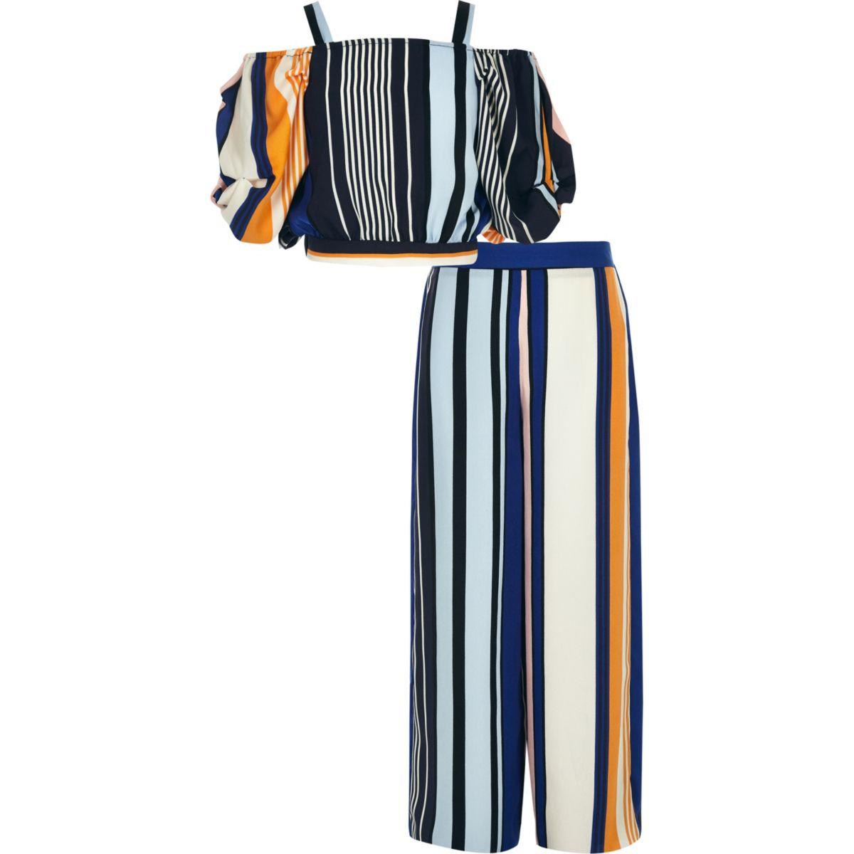 Ensemble crop top rayé bleu et pantalon pour fille