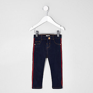 Mini girls dark blue Molly tape side jeggings