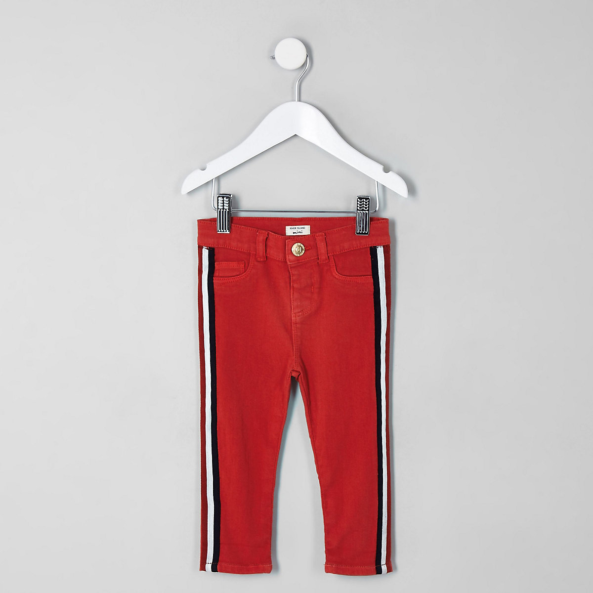 Mini girls red Molly tape jeggings
