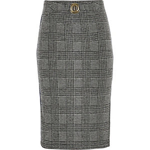 Girls grey check side stripe tube skirt