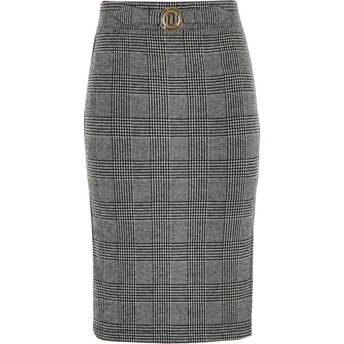 Girls grey check side stripe tube skirt