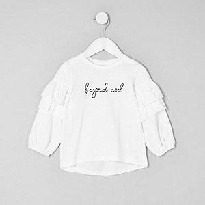 Mini - Wit poplin T-shirt met ruches aan de mouwen