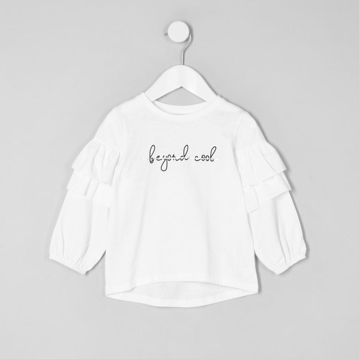 Mini girls white poplin frill sleeve T-shirt