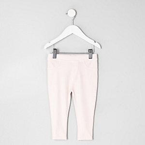 Pinkfarbene Leggings im Jeans-Look