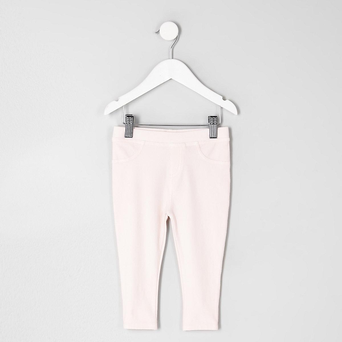 Mini girls pink denim look leggings