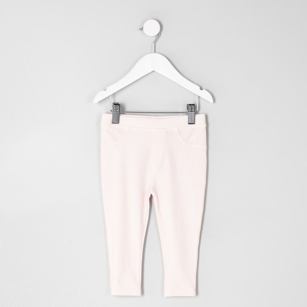 Mini girls pink denim look leggings