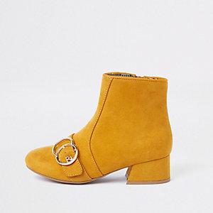 Gele laarzen met twee cirkelvormige gespen en RI-logo voor meisjes