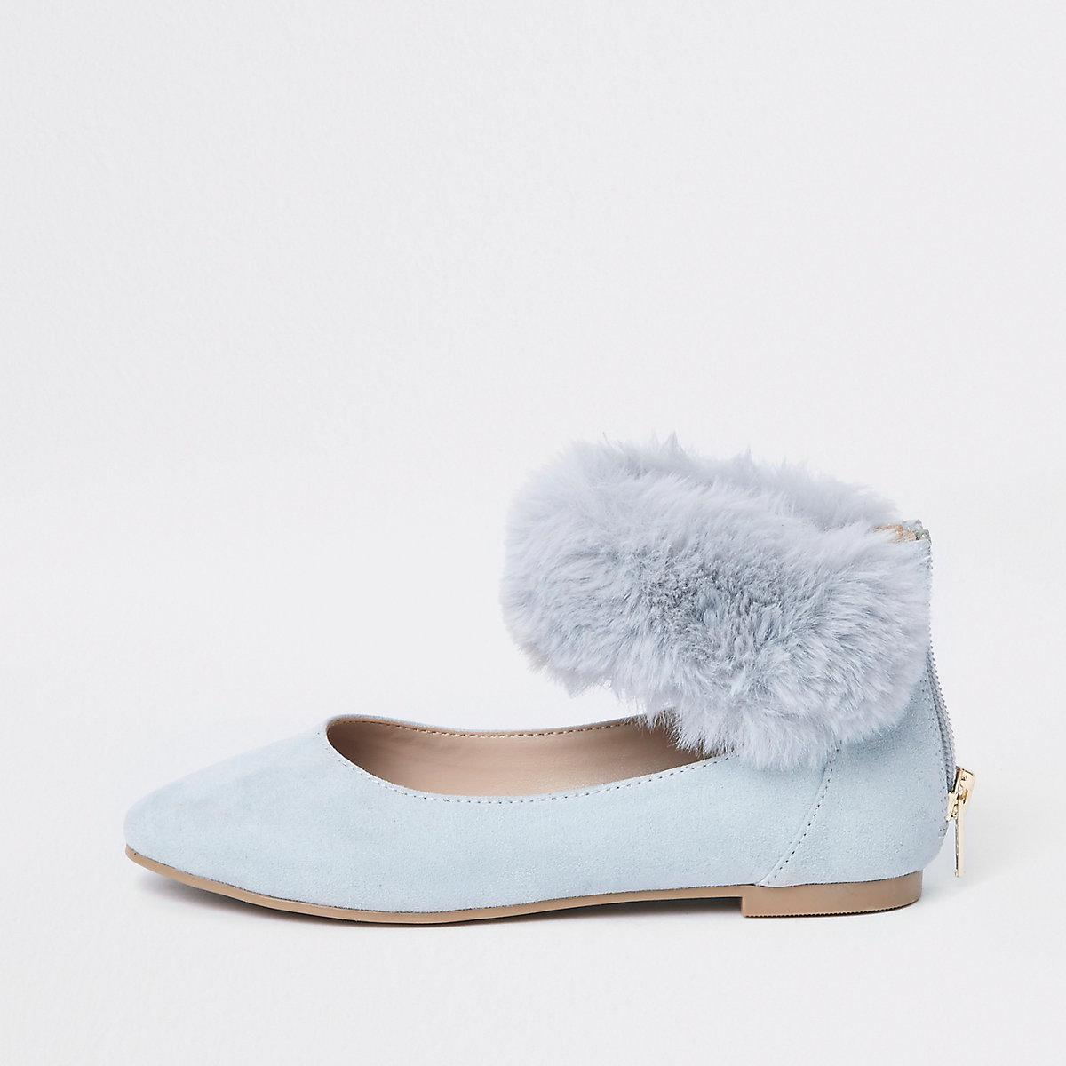 Girls blue faux fur ballerina pumps