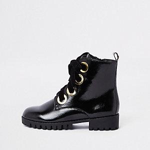 Black chunky eyelet boots