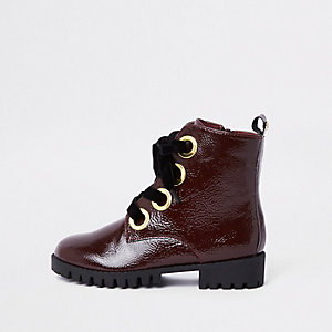 Girls red chunky eyelet boots