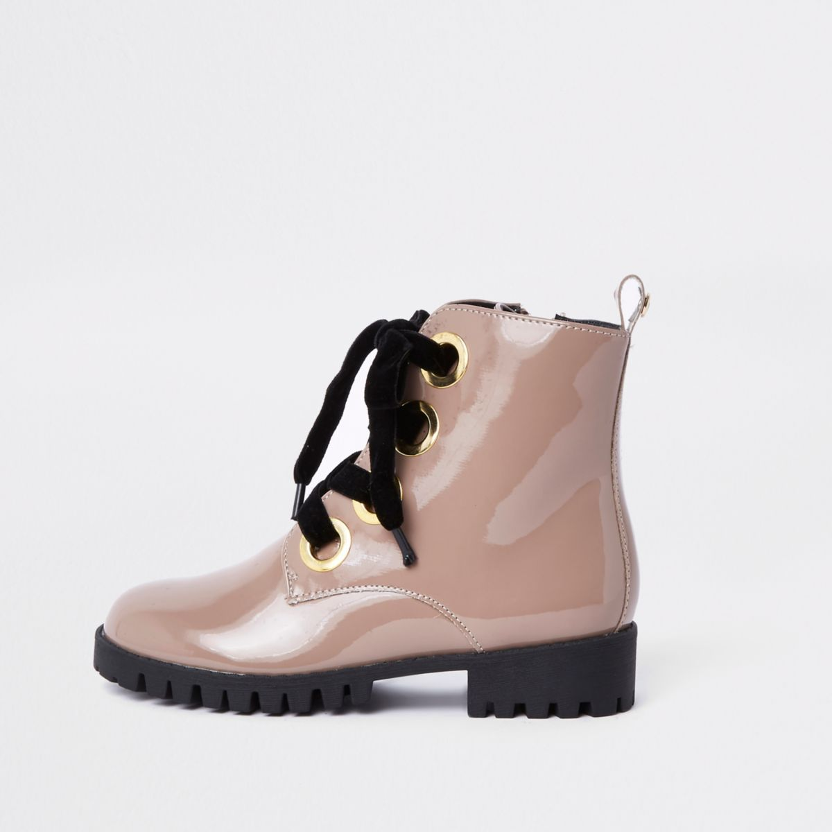 Beige chunky eyelet boots