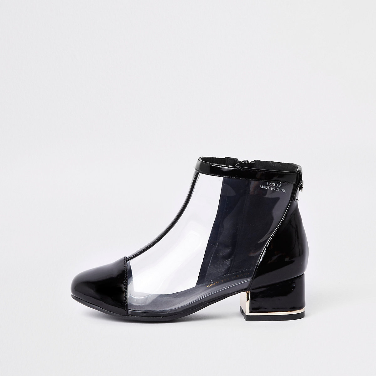 Girls black perspex ankle boots