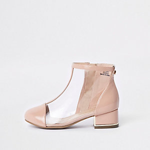 Girls pink perspex ankle boots