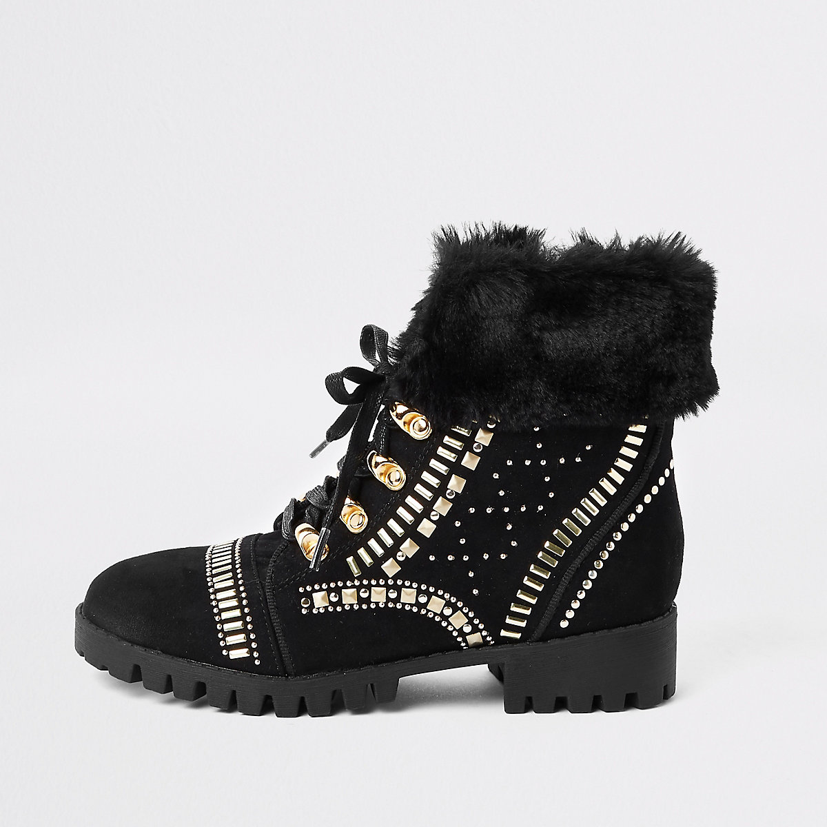 RI 30 girls black RI lace-up boots