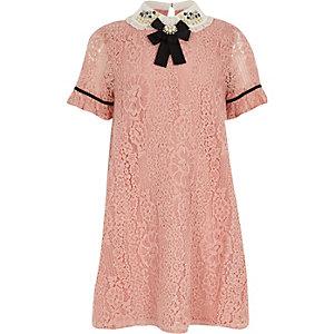 Robe trapèze rose à dentelle au col pour fille