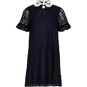 Girls navy lace embellished collar dress