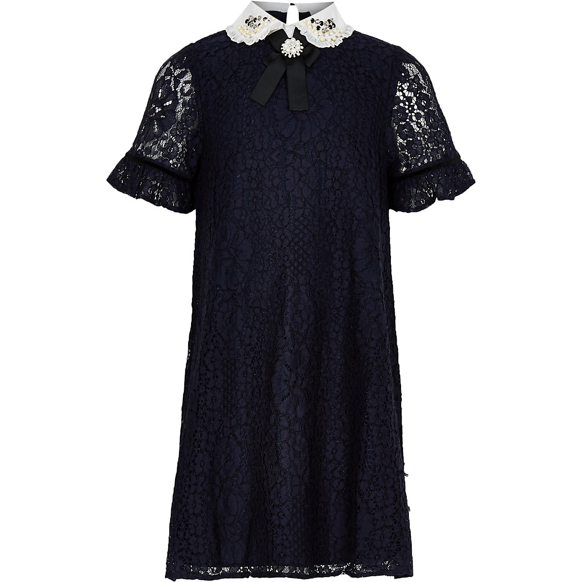 Girls navy lace embellished collar dress