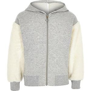 Grijze hoodie met rits en imitatiebont aan de mouwen voor meisjes
