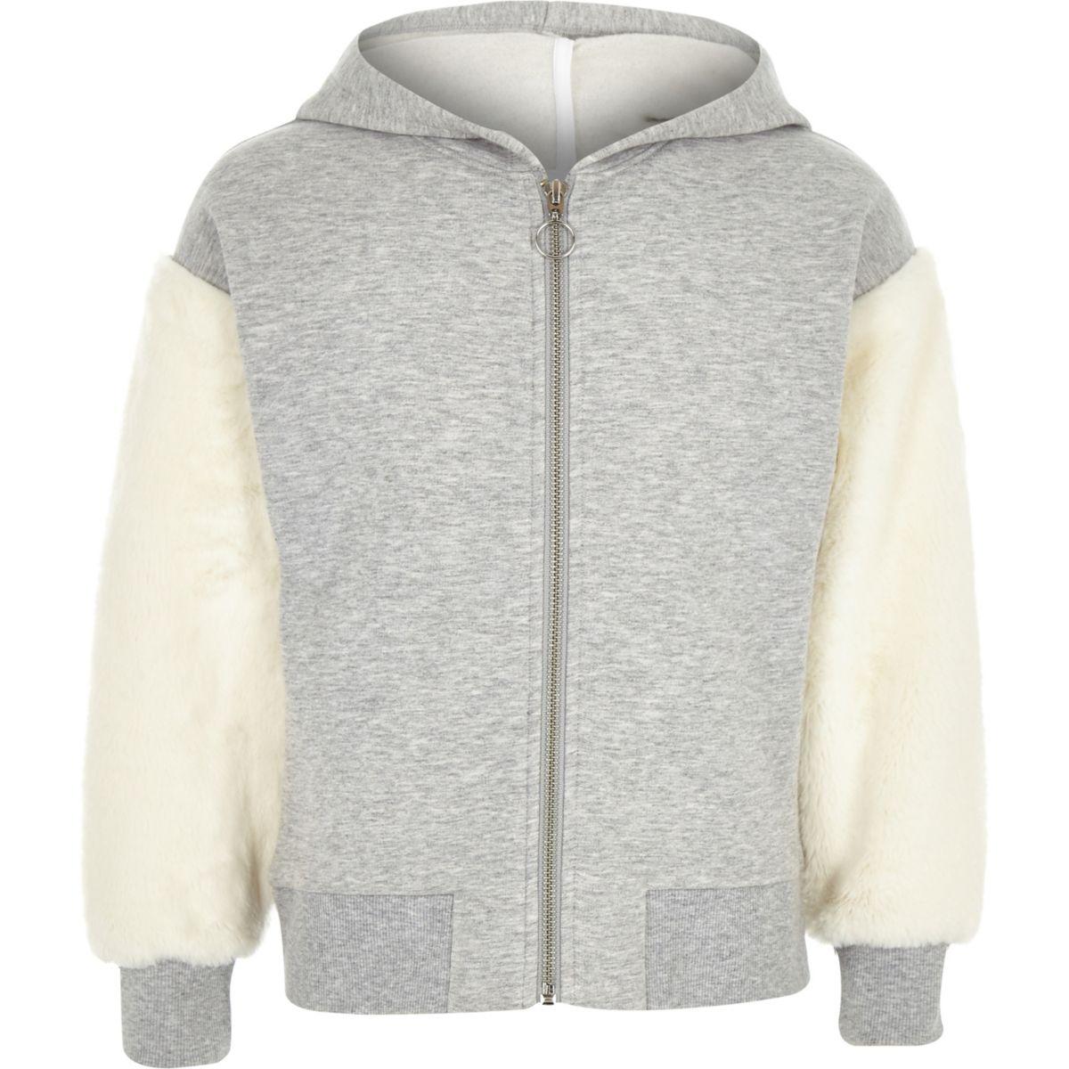 Girls grey faux fur sleeve zip-up hoodie
