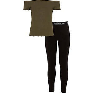 Girls khaki bardot top and RI leggings outfit