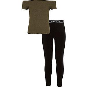 Outfit met kaki bardottop en legging met RI-logo voor meisjes