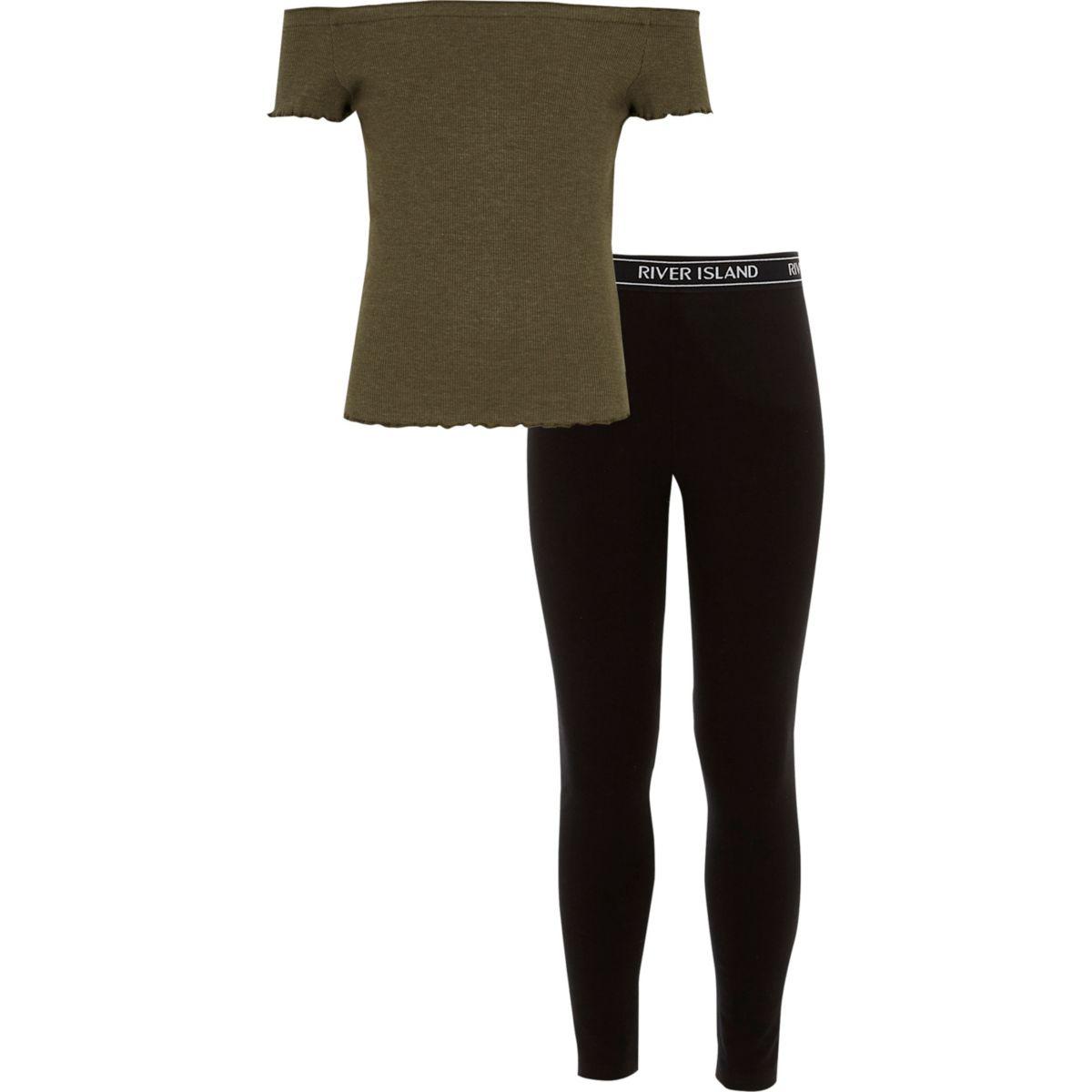 Girls khaki bardot top and RI leggings outfit