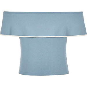 Girls blue knit frill bardot top