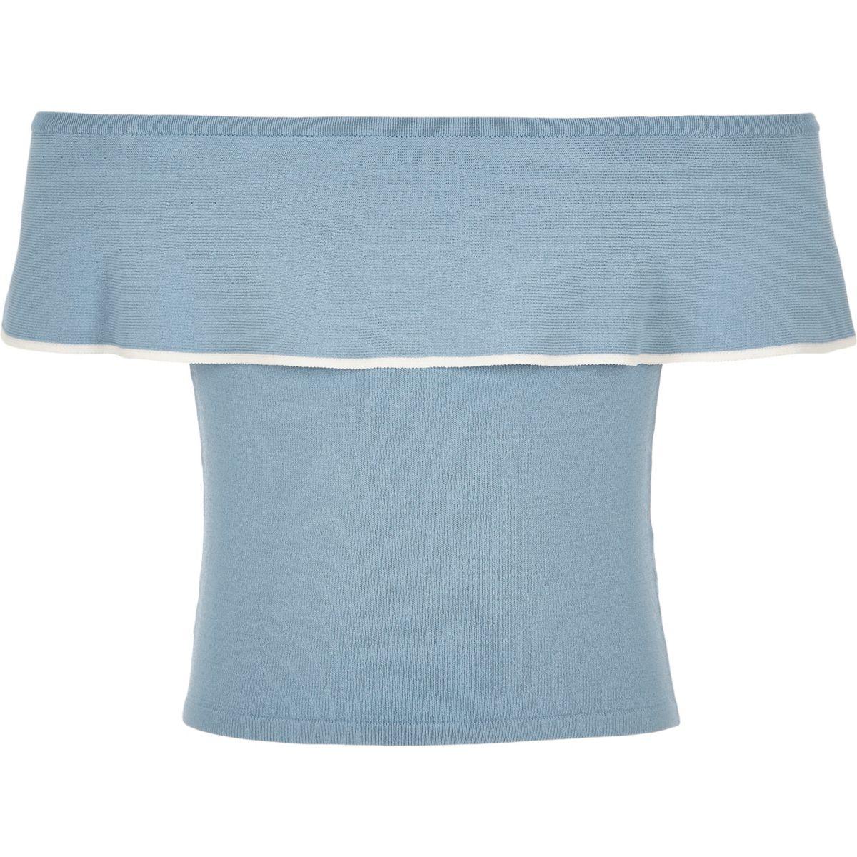 Girls blue knit frill bardot top