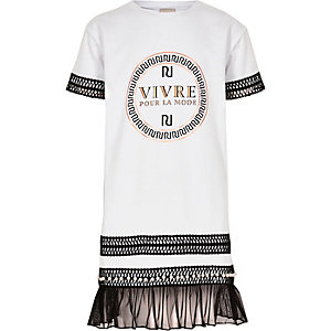 Girls white RI embroidered T-shirt dress