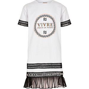 Witte T-shirtjurk met borduursel en RI-logo voor meisjes