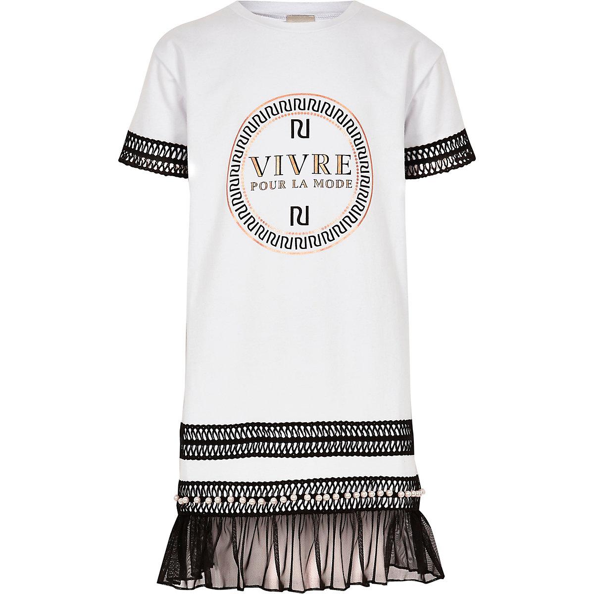 Girls white RI embroidered T-shirt dress