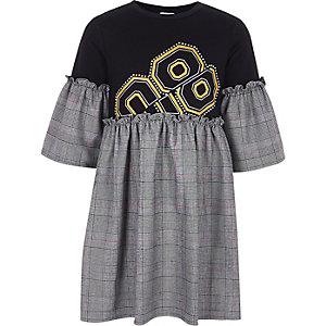 Zwarte geruite T-shirtjurk met verfraaiing voor meisjes