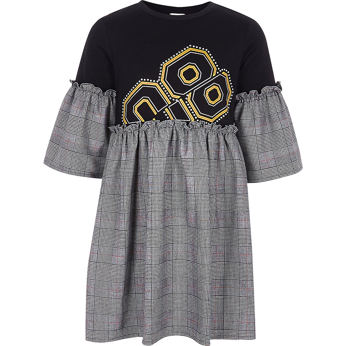 Girls black check embellished T-shirt dress