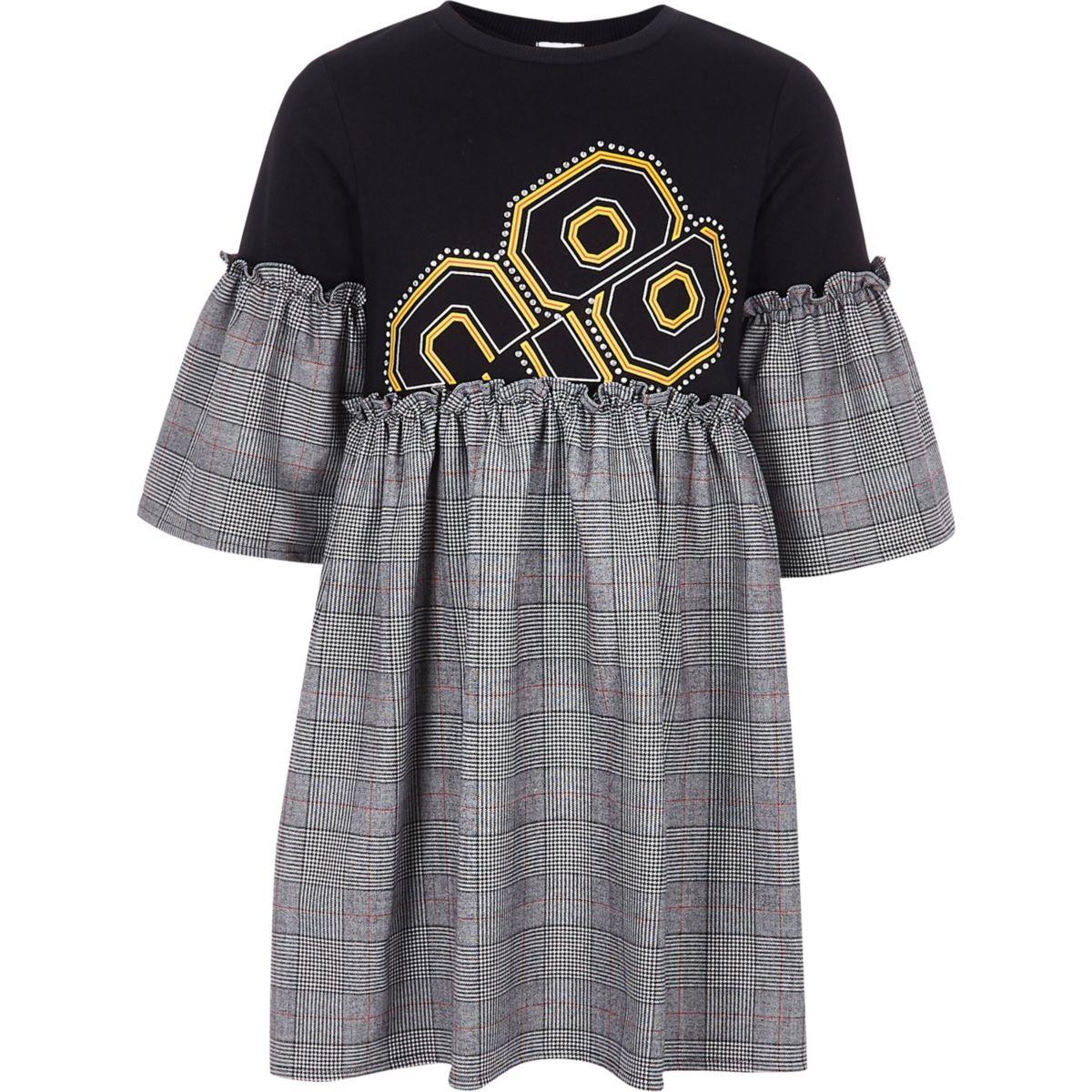 Girls black check embellished T-shirt dress