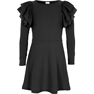 Girls black ribbed frill midi dress