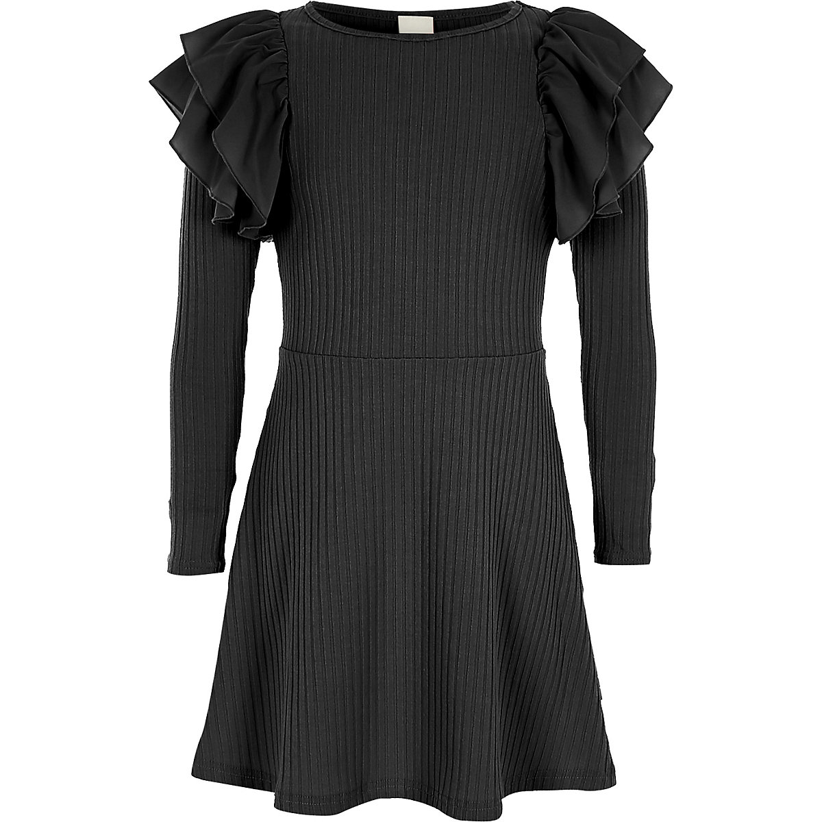 Girls black ribbed frill midi dress