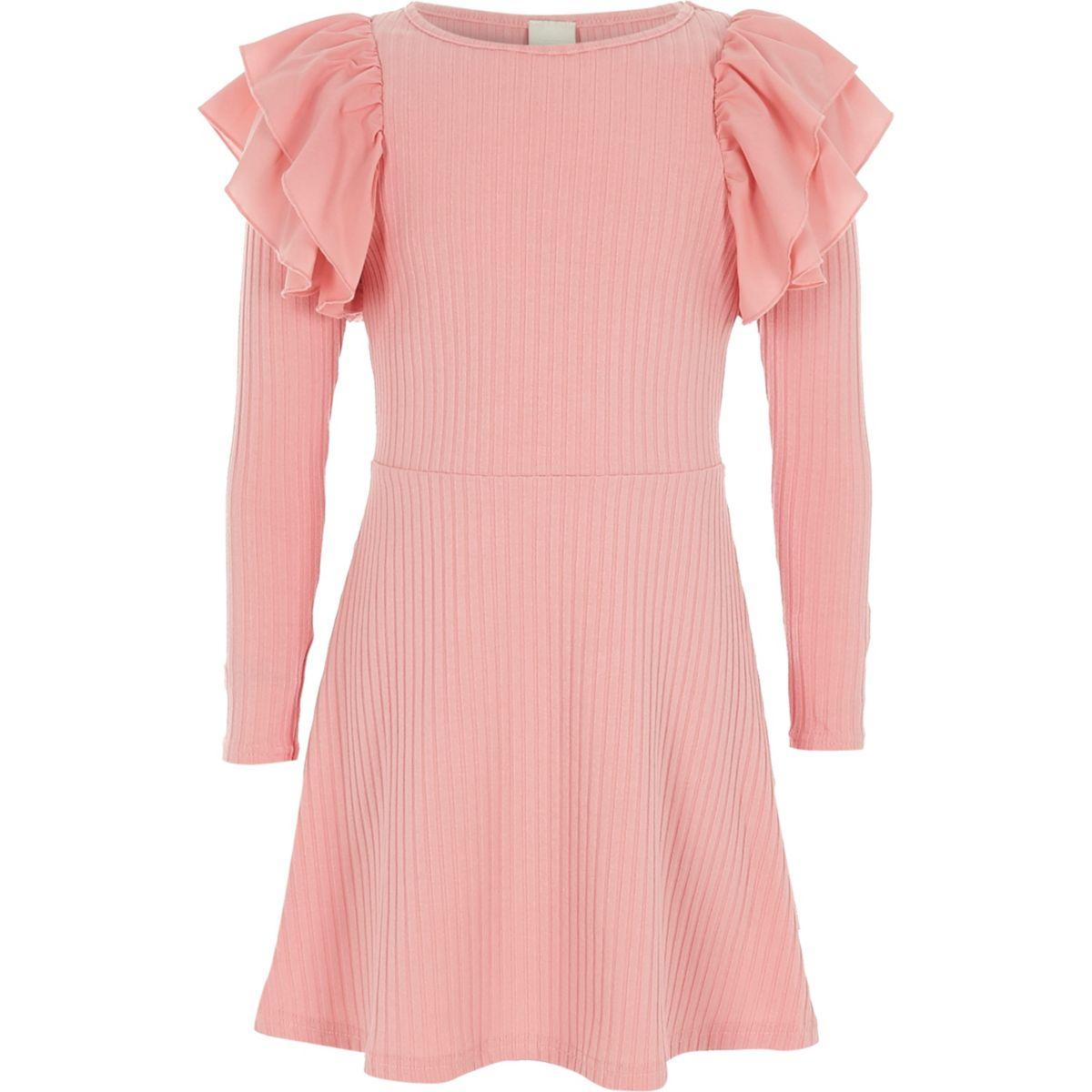 Girls pink frill ribbed midi dress