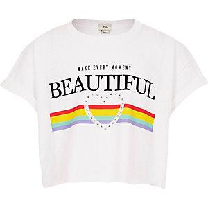 T-shirt court « Beautiful » arc-en-ciel blanc pour fille