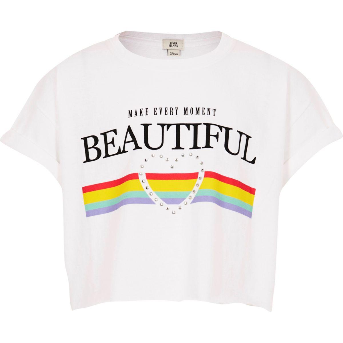 Girls white 'beautiful' rainbow crop T-shirt