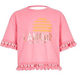 Roze T-shirt met L'amour'-print en kwastjes voor meisjes