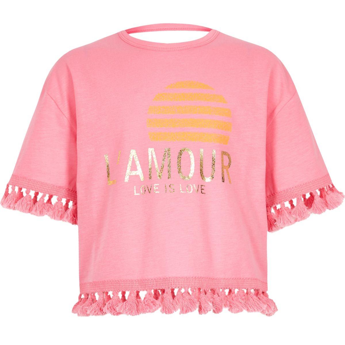 Girls pink 'L'amour' tassel trim T-shirt