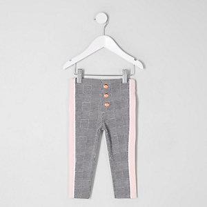 Mini - Grijze geruite legging met streep opzij voor meisjes