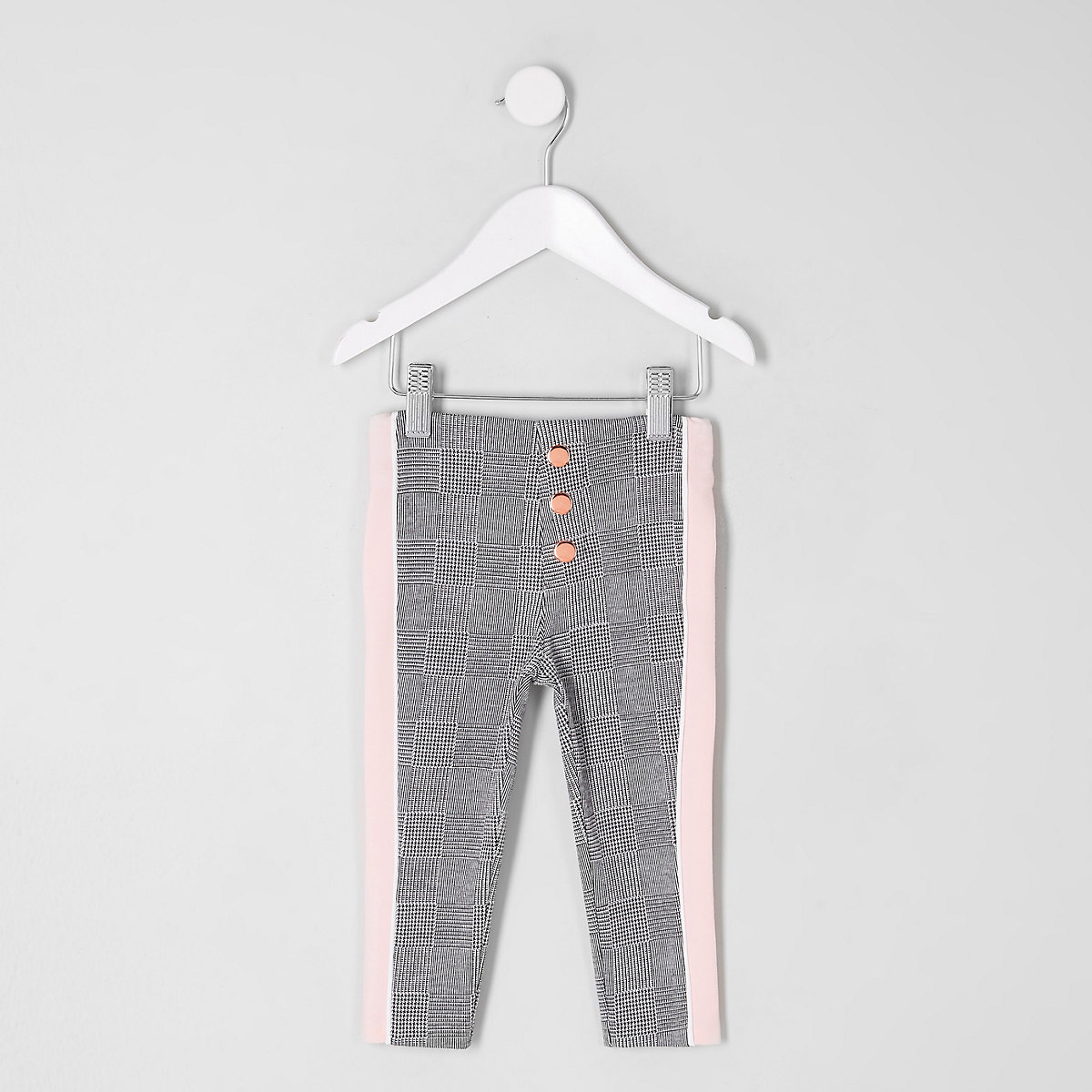 Mini girls grey check side stripe legging