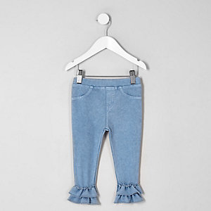 Legging aspect denim à double volant mini fille